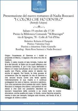 """Locandina della presentazione del romanzo """"I colori che ho dentro"""" di Nadia Boccacci"""