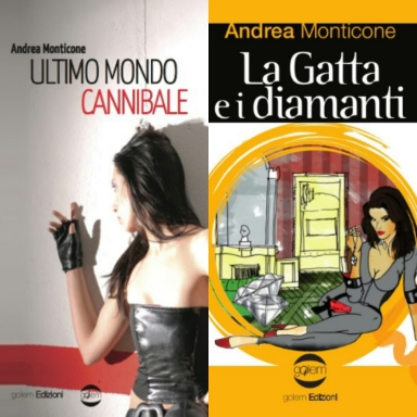 Collage copertine romanzi Andrea Monticone