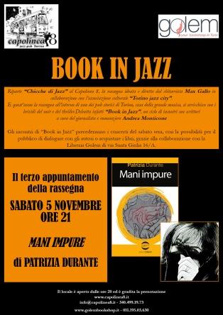 """Locandina del terzo appuntamento con la rassegna """"Book in Jazz"""""""