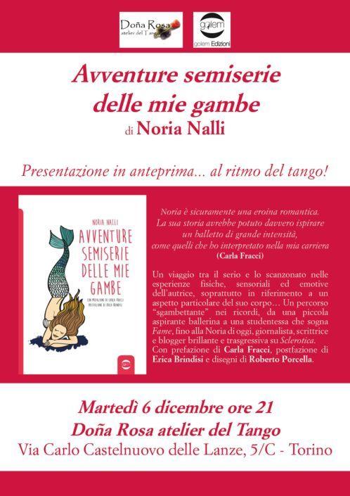 """Locandina presentazione """"Avventure semiserie delle mie gambe"""" di Noria Nalli"""