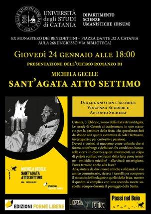 """Locandina presentazione romanzo """"Sanrt'Agata atto settimo"""" di Michela Gecele"""